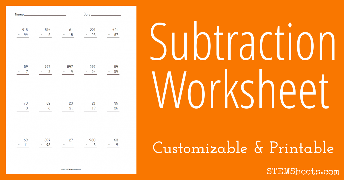 Subtraction Worksheet Maker – Subtraction Worksheets Generator