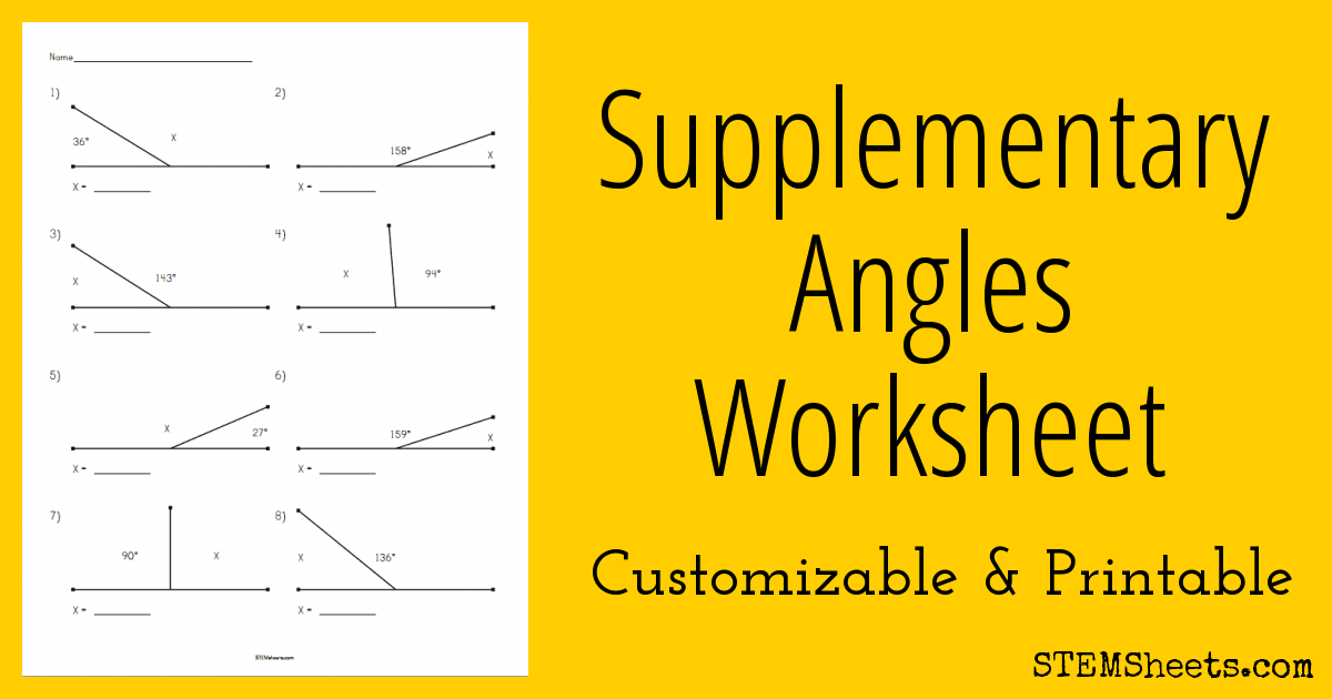 Supplementary Angles Worksheet on letter i worksheets
