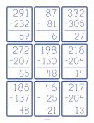 Large Number Subtraction Flashcards