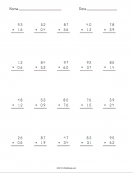 Multiplying Decimals Worksheet