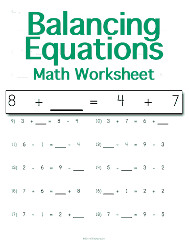 Worksheets Math Equations Worksheet balancing math equations worksheet customizable worksheet