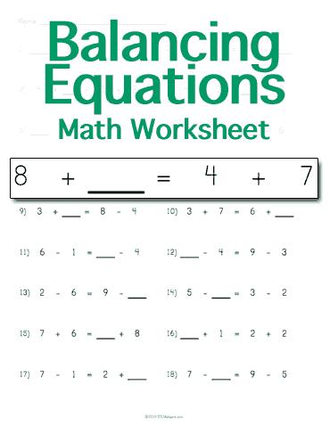 balancing math equations worksheet customizable. Black Bedroom Furniture Sets. Home Design Ideas