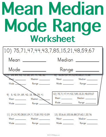mean median mode range worksheet stem sheets. Black Bedroom Furniture Sets. Home Design Ideas