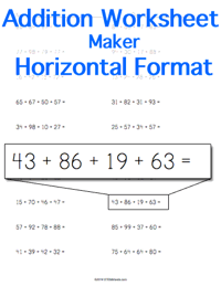 Addition Worksheet <small>Horizontal Format</small>