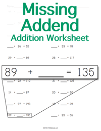Addition Worksheet <small>Missing Addend</small>