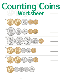 Counting Coins Worksheet <small>United States</small>