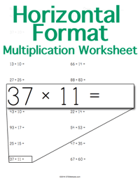 Multiplication Worksheet <small>Horizontal Format</small>