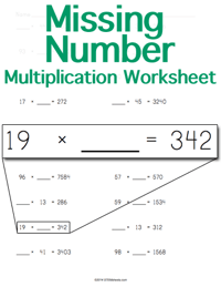 Multiplication Worksheet <small>Missing Number</small>