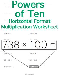 Powers of Ten Multiplication Worksheet <small>Horizontal Format</small>