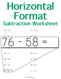 Subtraction Worksheet <small>Horizontal Format</small>