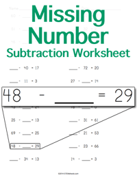 Subtraction Worksheet <small>Missing Number</small>