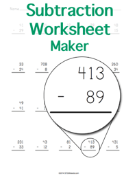 math worksheet : math worksheet generator subtraction with regrouping  educational  : Subtraction Worksheets Generator